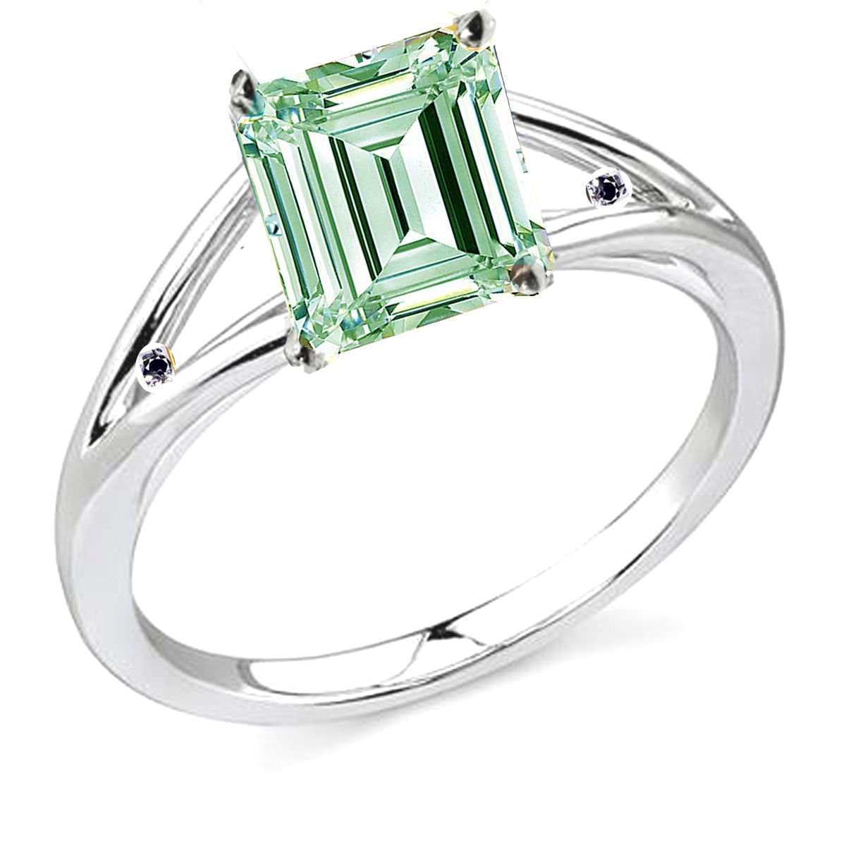 RINGJEWEL 1.37 ct VVS1 Emerald Moissanite Engagement Silver Plated Ring White Green Color Size 7.50