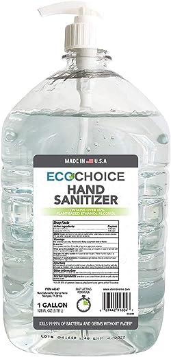 Sterno Home ECOCHOICE Unscented Hand Sanitizer Gel, FDA-Registered, 66% Alcohol, 1-Gallon Size Bottle, 128 Fl. Oz, with Pump Dispenser - 44347