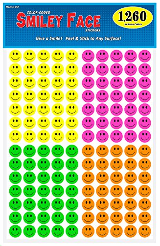 Pack of 1260, Happy Face Smiley Stickers, 3/4 in. Round, Bright Neon Colors, Great for Teachers