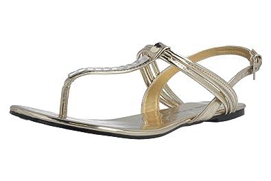 Andres Machado Damen Zehentrenner - Gold Schuhe in Übergrößen, Größe:43