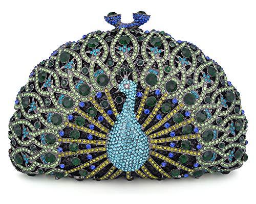 Green Bag Evening Black Clutch Peacock Luxury Crystal Mossmon Fn6x046