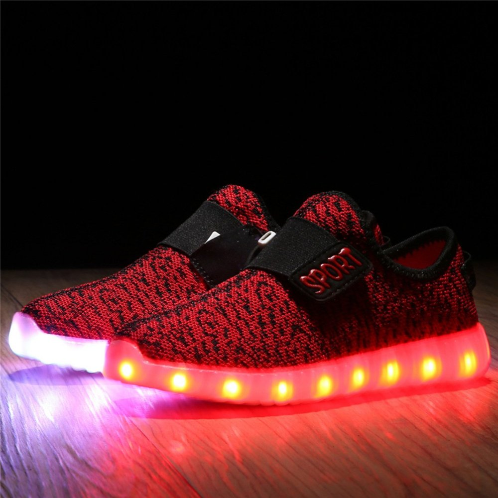 pit4tk 11 Colors LED Light Up Shoes USB Flashing Sneakers for Kids Boys Girls for Christmas