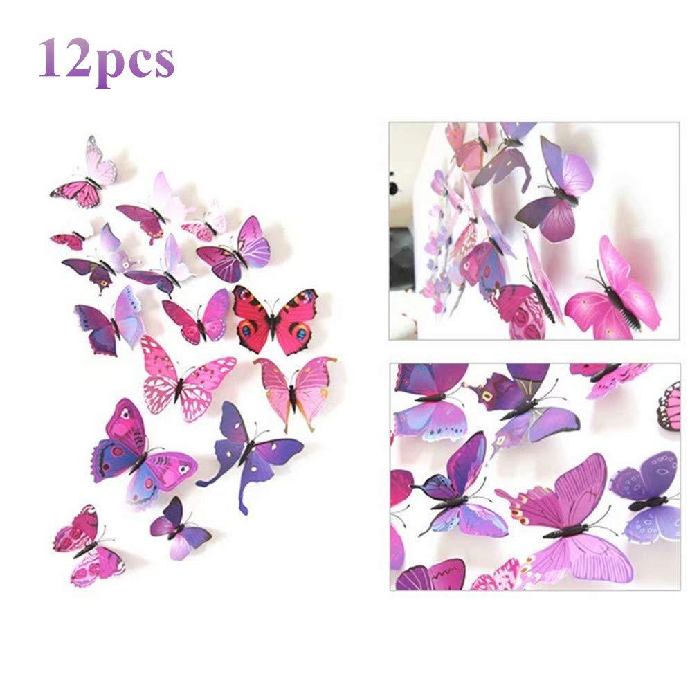 UK/_ NE/_ 12Pcs 3D White Butterfly Wall Sticker Set Living Room Bedroom Home Decor