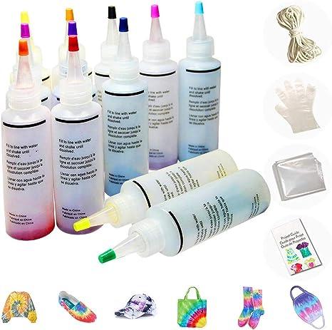 MMTX Tie-Dye Kit Tinte para Ropa,12 colores Pinturas Textiles con Guantes Desechables, Bandas de Goma, Manteles y Guía,Tinte para Máscaras, Camisas, ...