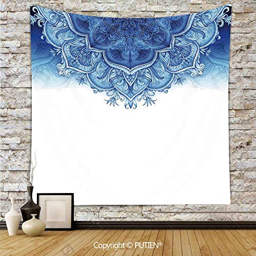 Artistic Tapestry Wall Hanging [ Moroccan,Floral Artwork Vintage Islamic Architectural Decorative Elements Oriental Pattern,Blue White ] Fabric Wall Hanging Decor for Bedroom Living Room Dorm, 52