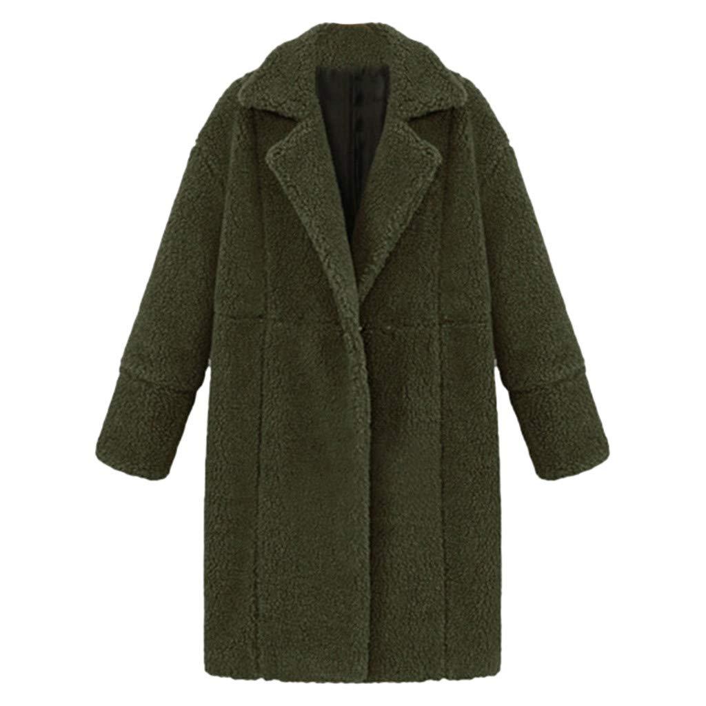 HOSOME Women Winter Solid Jacket Lapel Long Sleeve Plush Pocket Long Coat Army Green
