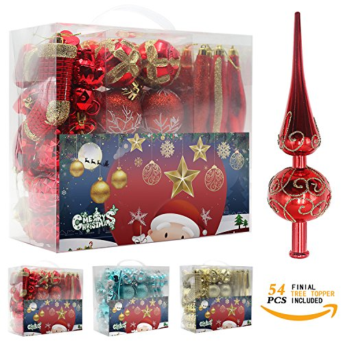 Woowell Shatterproof Ornaments Christmas tree decoration, 54 Set Luxury Collection Red Assorted Xmas Balls, Reusable Hand-held Gift Box (Red) (7 Inch Glass Ball Christmas Ornament)