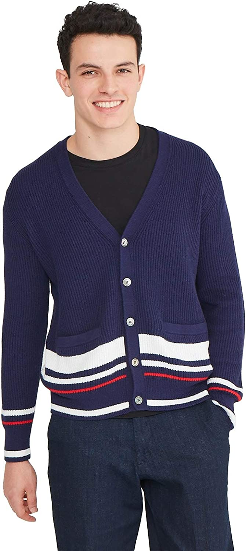 1960s Men's Clothing State Cashmere Mens Cotton Cashmere Color Block Cardigan  AT vintagedancer.com