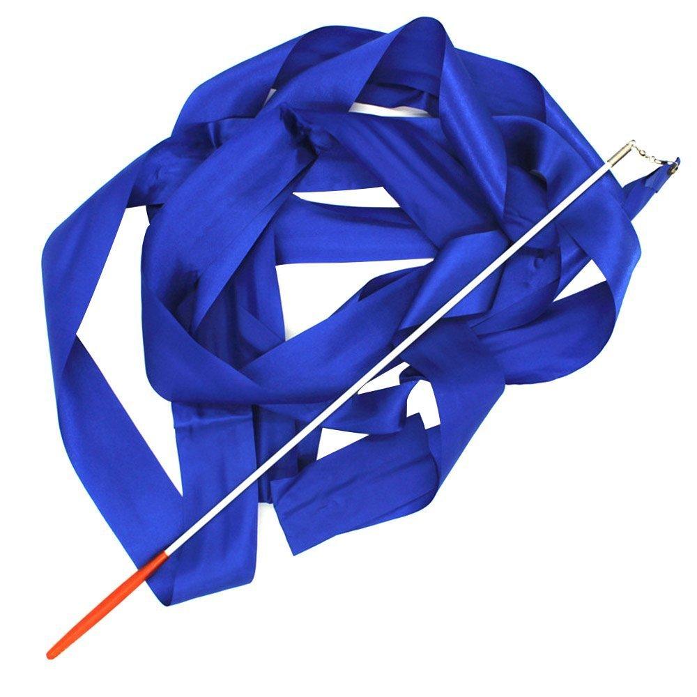 4m Stain Twirling Dance Gym Art Rhythmic Gymnastics Streamer Dazzler Ribbon with Stick Rod Baton Wand