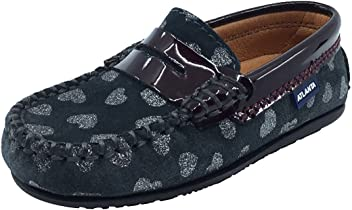 65b1a9a86bcbe Atlanta Mocassin Girl's Suede and Patent Heart Print Penny Loafers