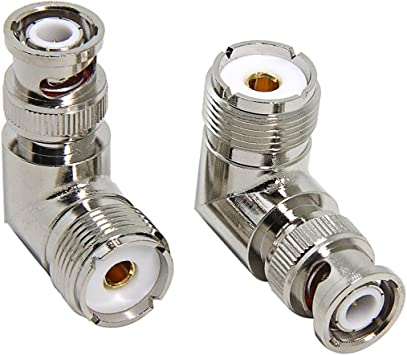 2 Pack BNC Male to UHF PL259 Female Coaxial Adapters Connectors