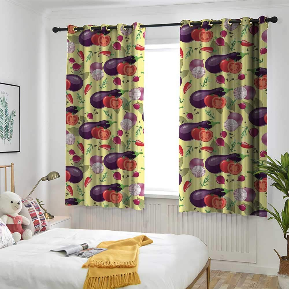 MaryMunger Eggplant Thermal Insulating Blackout Curtains Eggplant Tomato Relish Onion Going Green Eating Organic Tasty Preserve Nature Darkening Thermal Insulated Blackout W 72'' XL 63'' Multicolor by MaryMunger
