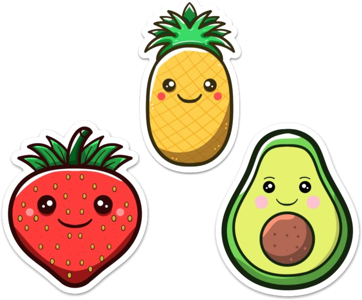 """3-Pack Avocado, Pineapple & Strawberry Vinyl Sticker Decals 4"""" for Computer, Laptop, Water Bottle or Any Smooth Surface"""