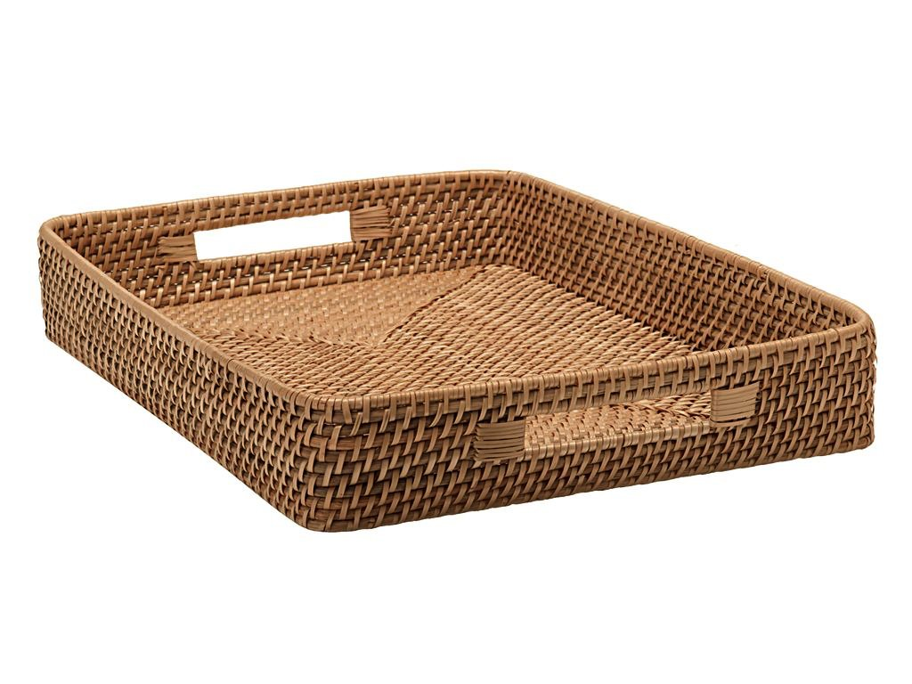 Attractive Amazon.com: KOUBOO Rattan Serving Tray with Cut-Out Handles, Honey  CI71