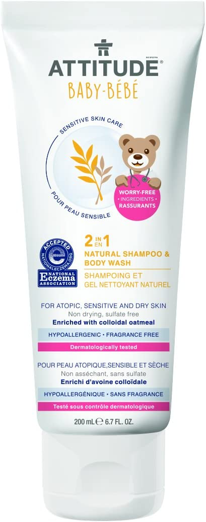 Attitude 2-in-1 Natural Shampoo & Body Wash Baby, Fragrance Free, 6.7 Fluid Ounce