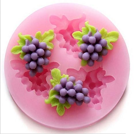 SHINA tres agujeros, hortalizas, fruta 3D silicona base moldes azúcar herramientas Craft-Molde