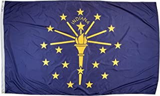 product image for Annin Flagmakers Model 141680 Indiana Flag Nylon SolarGuard NYL-Glo, 5x8 ft, 100% Made in USA to Official State Design Specifications