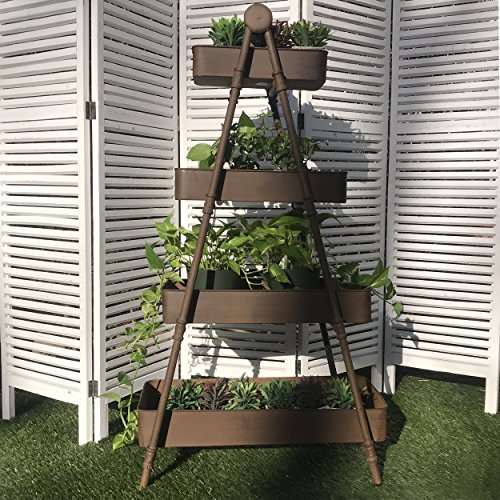 The Farmer's A-Frame Rack With 4 Removable Shelf Trays, Display Stand, Plants, Books Towels, Shoes, Vintage Rustic Style, Distressed, Sturdy Iron, Approx. 4 Ft Tall (47 Inches) By Whole House Worlds (4 Bookcase Shelf Iron Folding)