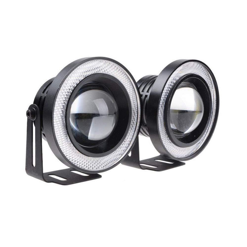 ESUPPORT 2Pcs 2.5 12V 30W COB LED Fog Light Projector Car White Angel Eyes Halo Ring DRL Lamp Headlight Driving Bulbs