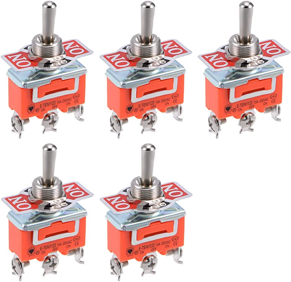 Bloqueo en sourcing map Interruptor de balanc/ín DPDT reforzado 15A 250V 6P Moment/ánea //apagado// bate de metal 5 piezas