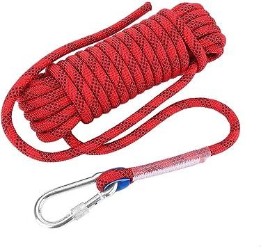 VGEBY1 Cuerda de Escalada en Roca, 12 mm Cuerda de Escape de Emergencia de Servicio Pesado Paracaídas de Seguridad 10M 20M Cuerda estática para ...