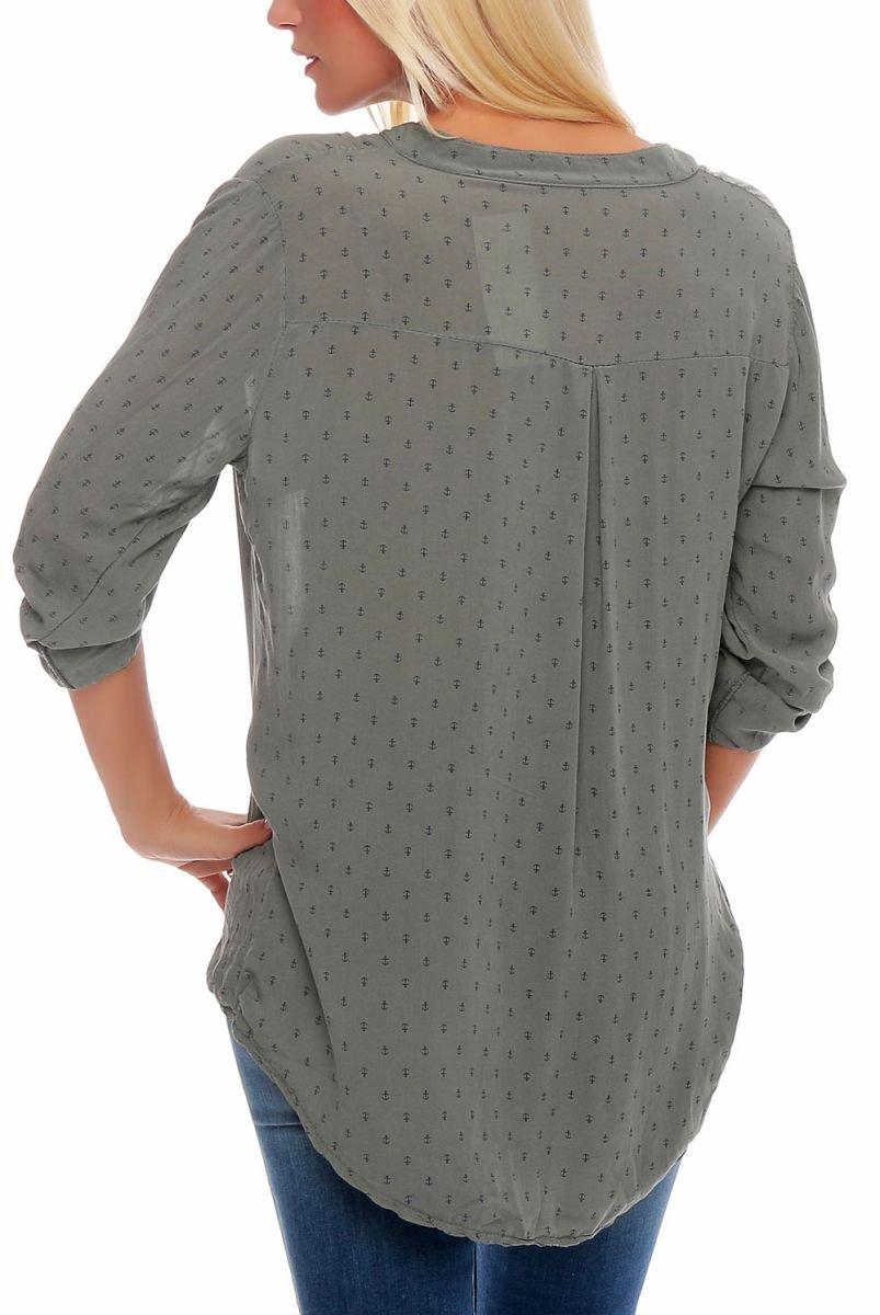 Malito dam blus med ankartryck | tunika med ärmar | blusskjorta också lång ärm bärbar | Elegant – tröja 9013 oliv