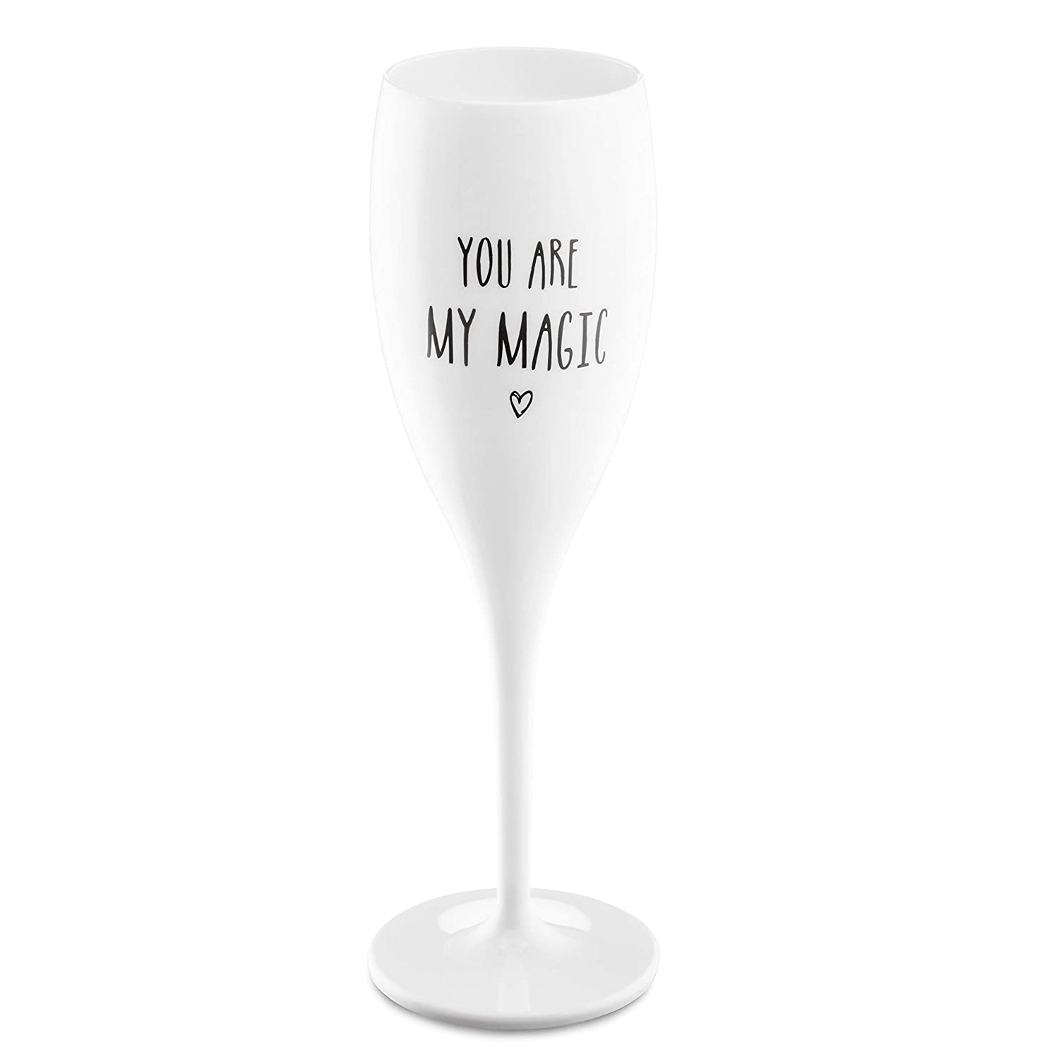 Koziol 3783525 Cheers You Are My Magic Champagne Glass One Size Cotton White