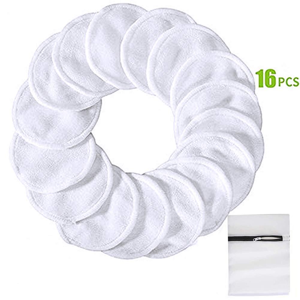 RIsxffp 16 pz 2 strati dischetti struccanti per trucco lavabili struccante make up pulizia viso pad bianco