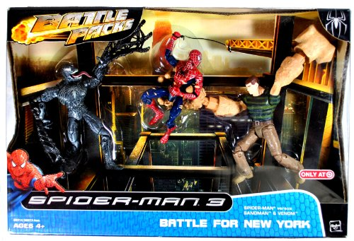 "Hasbro Year 2007 Marvel Movie Series ""Spider-Man 3"" Exclusive Battle Packs 6 Inch Tall Action Figure - BATTLE FOR NEW YORK with Spider-Man Versus Sandman and Venom (69314)"