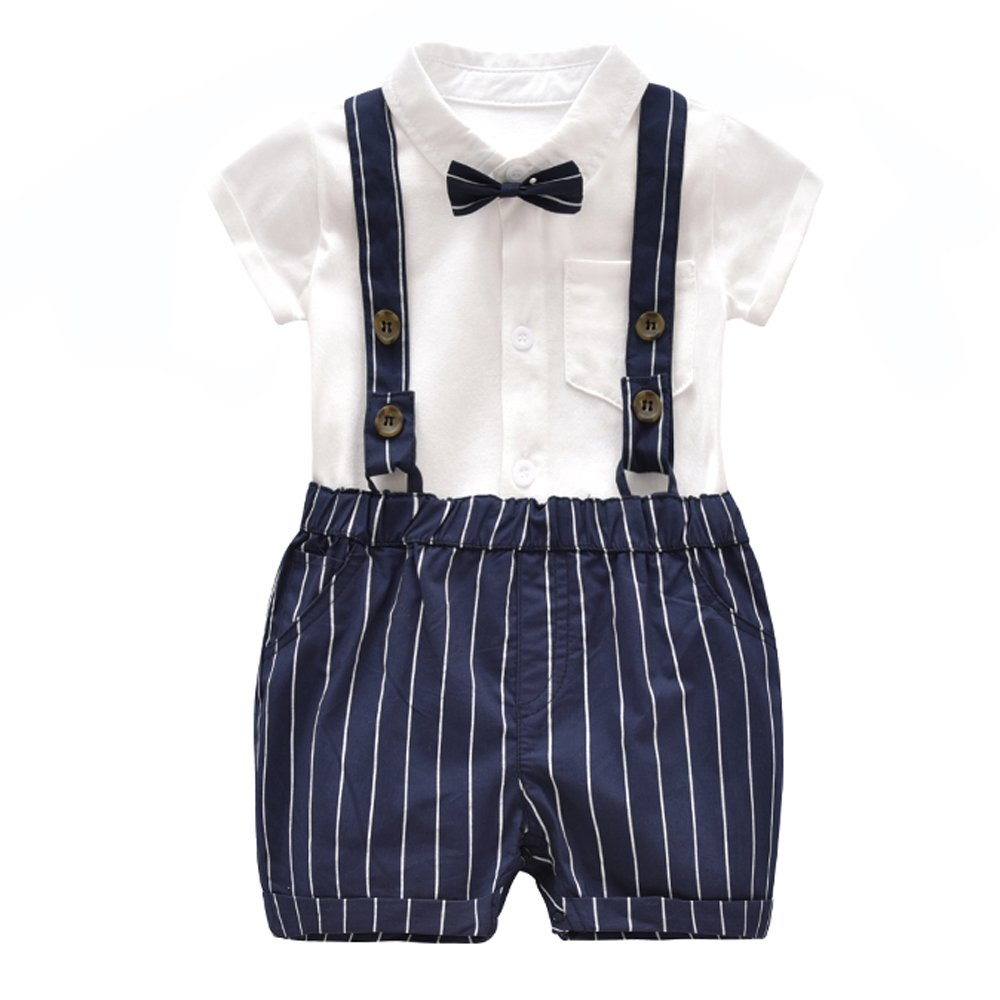 Ding-dong Baby Boy Summer Cotton Gentleman Short Sleeve Bowtie Romper+Striped Suspenders Shorts Outfit Set