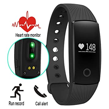 Three-T - Reloj inteligente con supervisión de frecuencia cardíaca, pulsómetro, Bluetooth para Android y iOS , negro: Amazon.es: Deportes y aire libre