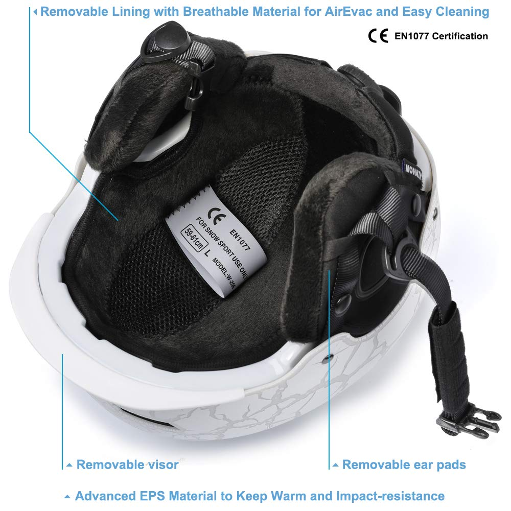 Adjustable Large Size 23.22-24 Inches MONATA Adult Ski /& Snowboard Helmet for Men and Women Winter Snow Sports Protect