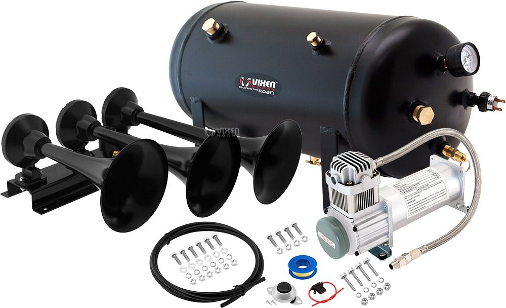 Vixen Horns Loud 152dB 3/Triple Black Trumpet Train Air Horn with 5 Gallon Tank and 200 PSI Compressor Full/Complete Onboard System/Kit VXO8350/3418B