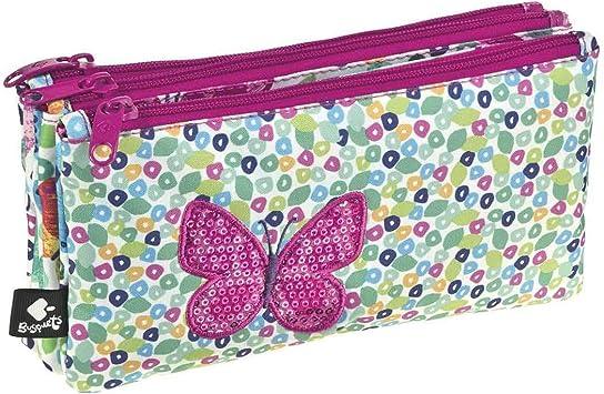 Busquets Estuche Escolar Triple Butterfly by: Amazon.es: Juguetes y juegos