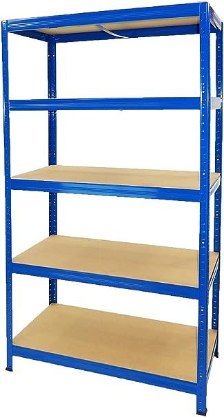 Estantería Metálica Futtal de 180x90x45 con 5 Pisos Muy Fuerte (Azul)