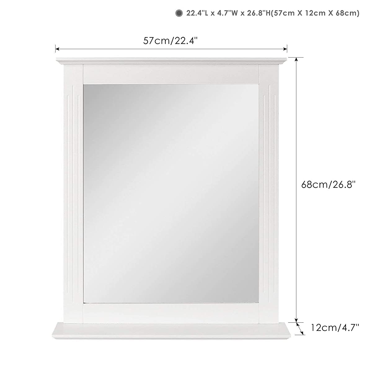 HOMFA Bathroom Wall Mirror Vanity Mirror Makeup Mirror Framed Mirror with Shelf for Home Multipurpose White