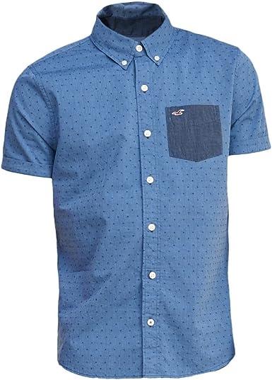 Hollister hombre Patterned Ventura camiseta, diseño de playa Azul azul X-Large: Amazon.es: Ropa y accesorios