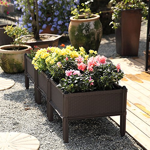 T4U Plastic Raised Garden Bed Brown Set of 3, Assemble Elevated Planter Box Container Indoor Outdoor Use for Orchid Herb Aloe Succulent Cactus Patio Backyard Porch Home Garden Decoration Gift