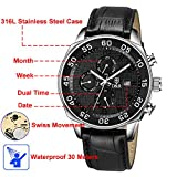 Derieter Sports Men Multifunction Watch Swiss ISA Movement Wristwatch Stainless Steel Wrist Watch Waterproof Genuine Leather Strap Week Month Date and 24 Hours