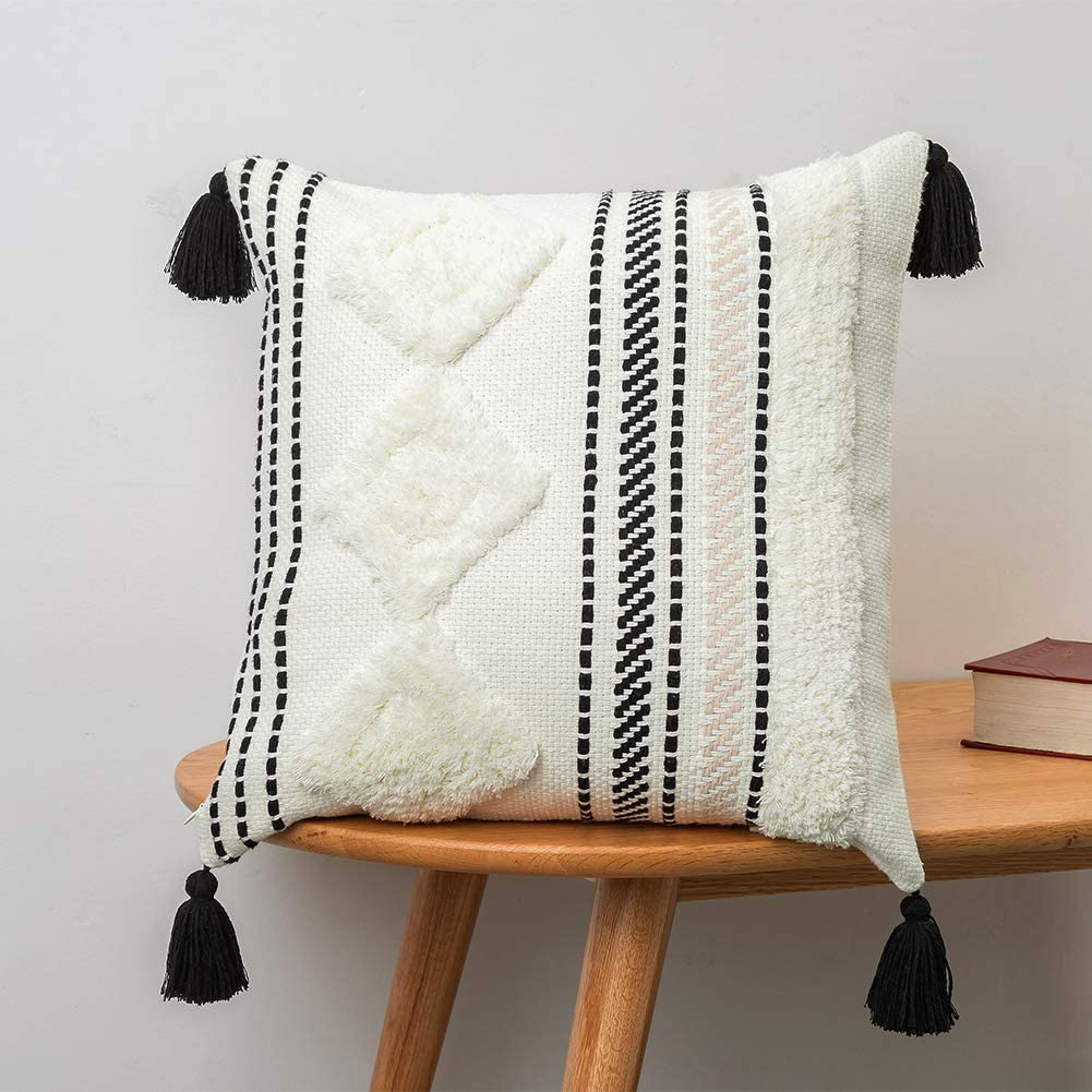 18x18 inch Black and White Accent pillows Throw Pillow Cover