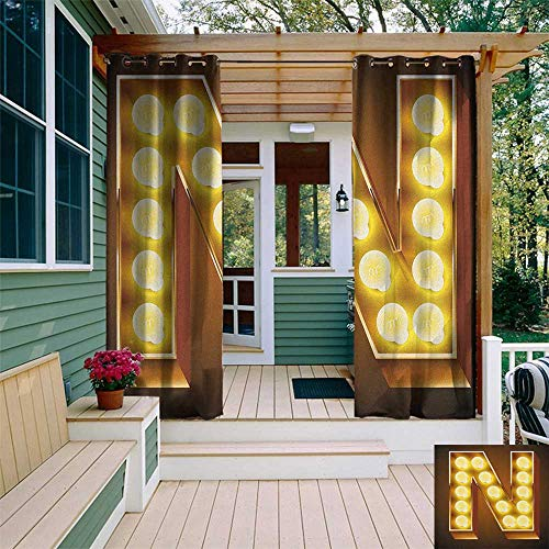 (leinuoyi Letter N, Outdoor Patio Curtains, Language Alphabet Symbol Vegas Vintage Design Typography Art Inspiration, Outdoor Privacy Porch Curtains W84 x L108 Inch Yellow Amber Black)