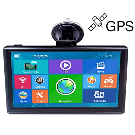 E-ACE GPS Navigation for Car 7 Inch Touch Screen 8GB Vehicle GPS Navigator  System Built-in Multimedia Entertainment Advanced Lane Guidance and Spoken