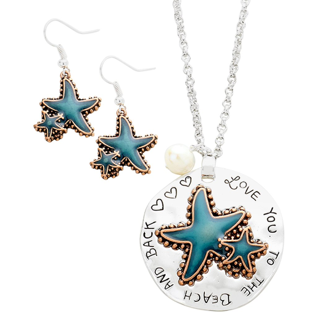 Rosemarie Collections Women's Starfish Necklace Earrings Set Love You To The Beach And Back (Silver Color)