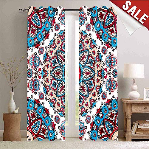 Window Curtain Drape Henna Style Floral Circles Paisley Retro Kaleidoscope Image Customized Curtains W84 x L96 Inch Turquoise Hot Pink and Light Pink