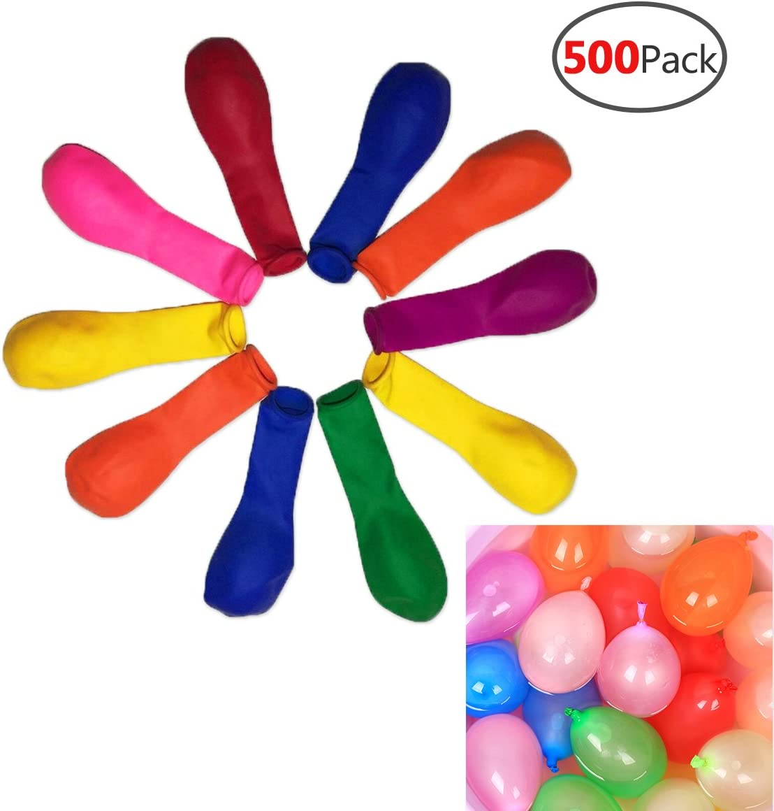 666 PCS Water Balloons Fun Water Party Games for Kids /& Adults-18 Bunches Splash Water Balloon Toys Colorful Air Balloons Rapid-Fill Air and Water