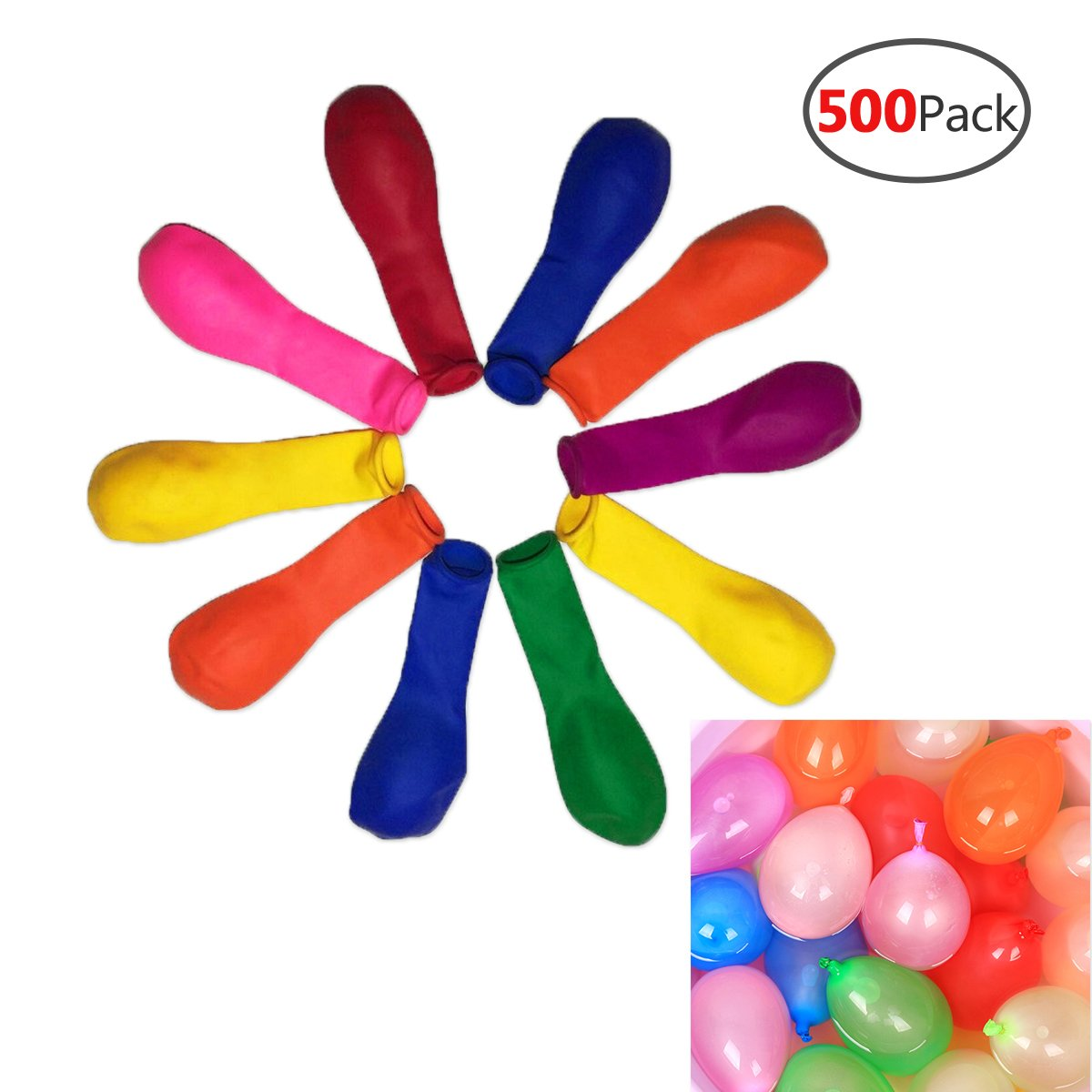 AzBoys 500pcs Small Latex Water Balloons,Colorful Air Balloons,Biodegradable Summer Splash Water Balloon Toys,for Water Bomb Game Fight Sports Fun Party