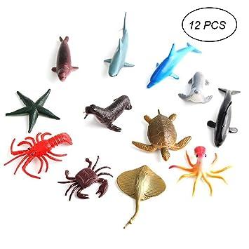 12 STÜCK OCEAN WORLD WASSERTIERE FIGUREN MEERESTIERE SPIELZEUG CA.4 BIS 7 CM NEU Tiere & Dinosaurier