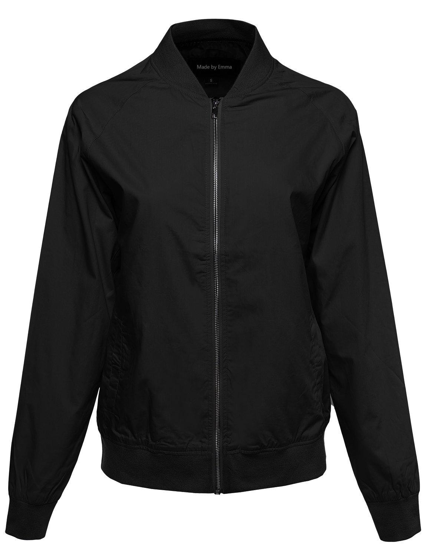 Made by Emma Classic Basic Style Zip Up Bomber Jacket Black L Size