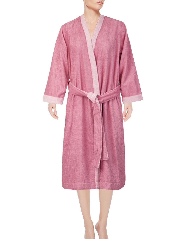 Armani International Women's Kimono Lounge Robe Set, Egyptian Cotton Terry Bathrobe Medium PeonyMisty pink   Made in Europe