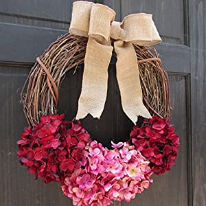 Rustic Hydrangea Grapevine Spring Summer Valentines Day Wreath for Front Door Decor; Burgundy Red and Rose Pink 2